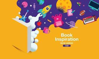 livre inspiration, retour à l'école, apprentissage en ligne, enfant, enfants, design plat social éloigné, illustration vectorielle.