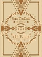 Modèle de vecteur de carte Art déco mariage Save The Date