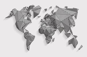 concept de carte de terre 3d de vecteur. carte low poly tridimensionnelle avec dessin au trait. géographie de la terre créée par des lignes. vecteur