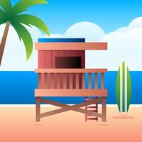 Maison de sauveteur sur le ciel coucher de soleil nuageux et la mer bleue en arrière-plan