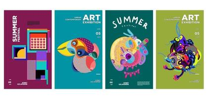 conception d'affiche colorée d'exposition d'art et de culture d'été vecteur