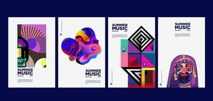 ensemble d'affiche de festival de musique et d'art de vacances d'été vecteur