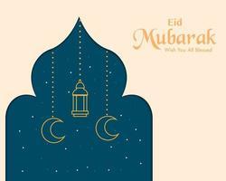 carte de voeux simple eid mubarak vecteur