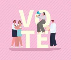 gens de bande dessinée avec lettrage de vote pour le jour des élections vecteur