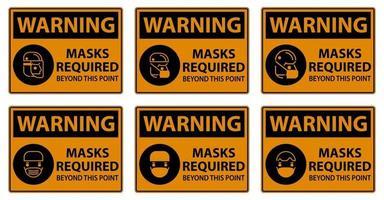 panneaux d'avertissement, masques requis au-delà de ce point vecteur