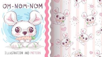 Adorable souris animale de personnage de dessin animé avec lapin vecteur