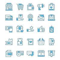 ensemble d'icônes de shopping avec un style bleu.