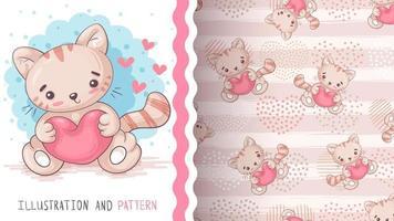 chat animal de personnage de dessin animé enfantin avec coeur vecteur