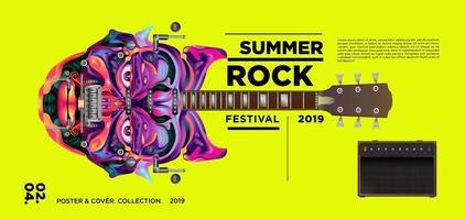 bannière du festival de musique rock d'été vecteur