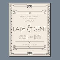 Vecteur d'invitation de mariage Art déco