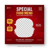 bannière de menu alimentaire publication de médias sociaux vecteur