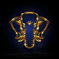 symbole d'éléphant d'or vecteur