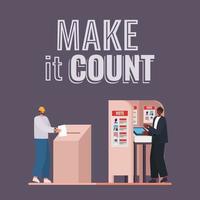 hommes votant avec le faire compter la conception de vecteur de texte