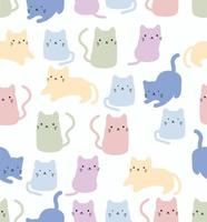 modèle sans couture de chat mignon doodle vector