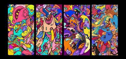bannière de fond doodle dessin animé abstrait coloré de vecteur