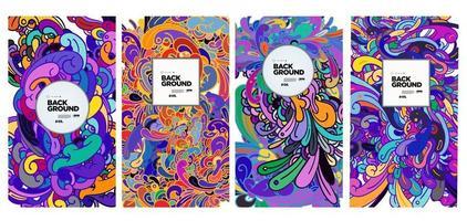 ornement de fond doodle ethnique abstrait coloré de vecteur