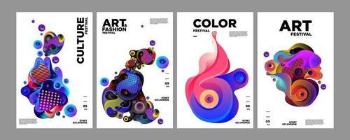 affiche fluide et liquide dégradé abstrait coloré de vecteur