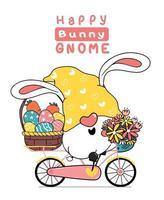 dessin animé mignon oreilles de lapin de gnome de pâques sur vélo floral rose doux avec panier d'oeufs de pâques. joyeuses pâques, dessin animé mignon doodle vecteur printemps pâques clipart