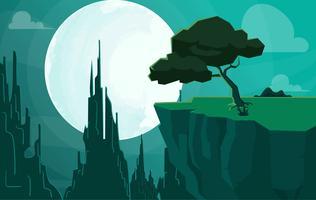 Illustration de paysage de science-fiction de vecteur