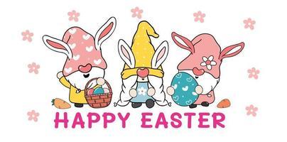 trois mignon gnome de lapin de Pâques doux avec des oreilles de lapin, bannière de vecteur de dessin animé joyeuses Pâques