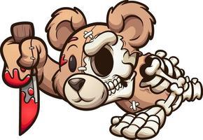 ours zombie de dessin animé vecteur