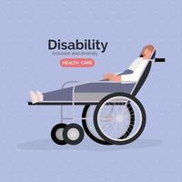affiche de sensibilisation au handicap avec une femme sur une conception de vecteur de fauteuil roulant