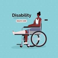 affiche de sensibilisation au handicap avec une femme afro en fauteuil roulant vecteur