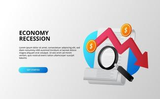 Dépression de l'économie et concept d'analyse de la crise financière de la récession avec des factures de flèche rouge de tendance baissière, une loupe et une pièce d'un dollar vecteur