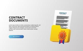 Illustration de documents d'accord de contrat de courrier électronique 3D pour les entreprises