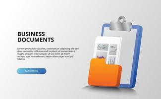 Bureau de bureau de document d'affaires avec papier, dossier, presse-papiers avec concept d'illustration icône 3d