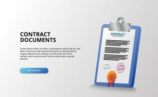 Document contrat fichier papier et presse-papiers rapport icône 3d illustration avec certificat médaille