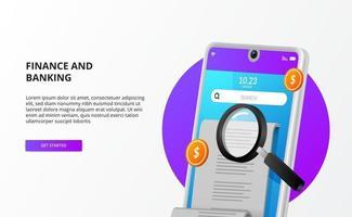 Factures de paiement chèque de comptabilité d'audit avec téléphone 3d, argent et loupe vecteur