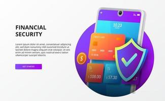 Portefeuille de téléphone 3D pour société sans numéraire avec données financières de sécurité vecteur