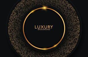 fond élégant de luxe avec élément de cercle or et particule de points sur une surface sombre. mise en page de présentation d'entreprise vecteur