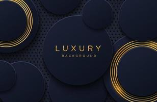 fond élégant de luxe avec motif de lignes or brillant isolé sur fond noir. fond abstrait papier découpé réaliste. modèle de couverture élégant vecteur