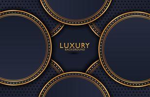 fond élégant de luxe avec élément de cercle or brillant et particule de points sur une surface en métal noir foncé. mise en page de présentation d'entreprise vecteur