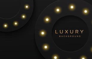 fond élégant de luxe avec motif en pointillé or brillant et ampoule isolée sur fond noir. fond abstrait papier découpé réaliste. modèle élégant vecteur