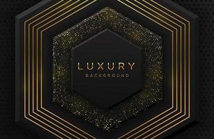luxe élégant fond de forme hexagonale 3d avec motif en pointillé or scintillant et lignes isolées sur fond noir. fond abstrait papier découpé noir réaliste. modèle élégant vecteur