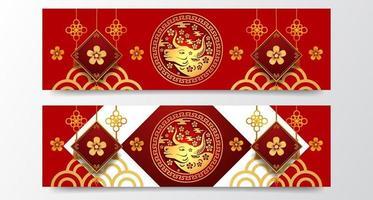 couleur rouge fortune chanceux avec boeuf 2021 zodiaque animal modèle de bannière de nouvel an chinois