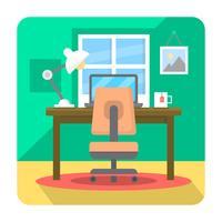 Bureau à domicile plat vecteur