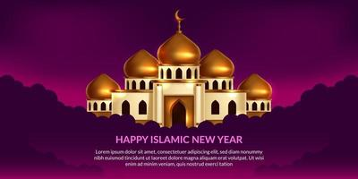 nouvel an islamique. heureux muharram. illustration de la mosquée dôme doré avec fond violet. vecteur