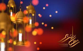 modèle de carte de voeux islamique. Lanterne arabe fanoos de luxe suspendu 3D avec calligraphie du ramadan kareem et fond de bokeh et belle lumière
