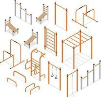 équipement de musculation des entraînements de rue. illustrations vectorielles. vecteur