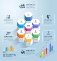 modèle de conception infographie entreprise. illustration vectorielle. peut être utilisé pour la mise en page du flux de travail, le diagramme, les options de nombre, les options de démarrage, la conception Web.