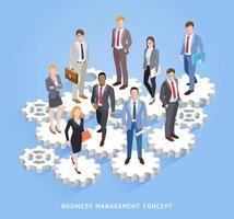 gestion du travail d'équipe entreprise conceptuelle. hommes et femmes d'affaires debout sur des rouages et des engrenages. illustrations vectorielles. vecteur