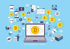 conception conceptuelle de l'extraction de crypto-monnaie. illustrations vectorielles.