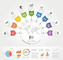 modèle d'éléments infographie entreprise. illustrations vectorielles. peut être utilisé pour la mise en page du flux de travail, la bannière, le diagramme, les options de nombre, la conception Web, le modèle de chronologie. vecteur