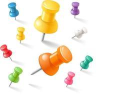 jeu d'icônes de punaises. illustrations vectorielles. vecteur