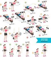 femme entraînement fitness, aérobie et exercices. illustration vectorielle.
