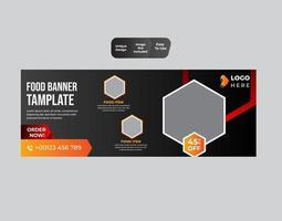 promotion des médias sociaux alimentaires et modèle de conception de bannière web vecteur